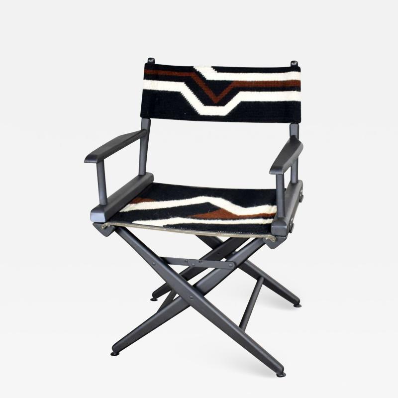 Vintage needlepoint director s chair folding black brown white geometric