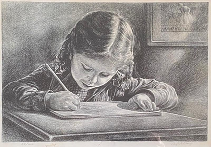 Virgil Finlay GIRL WRITING IN BOOK LITHOGRAPH BY VIRGIL FINLAY