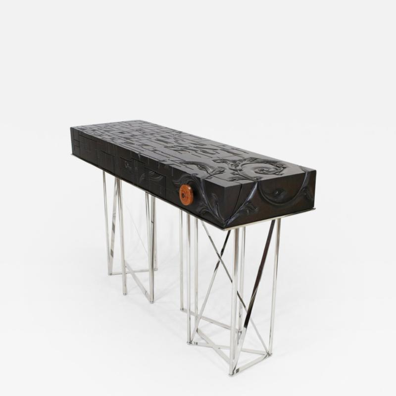 Visilek Furniture LLC Mondrian Meets Gaudi Mahogany and Stainless Steel Console