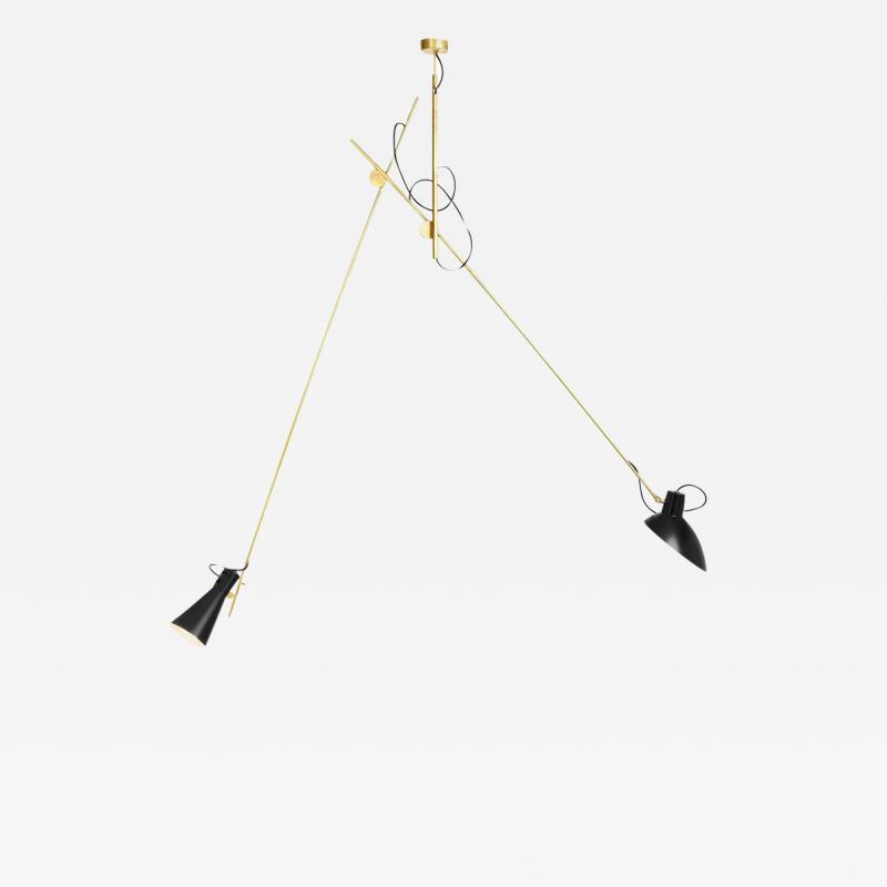 Vittoriano Vigano Vittoriano Vigan VV Suspension Lamp in Black and Brass