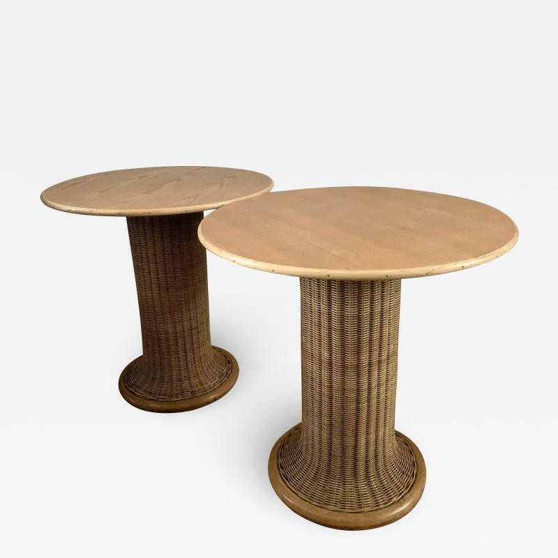 Vittorio Bonacina Late 60s Pair of Side Table in Wood and Rattan