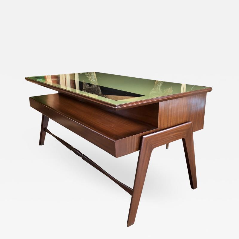 Vittorio Dassi Rare Italian Executive Desk with Floating Glass Top by Vittorio Dassi 1950s