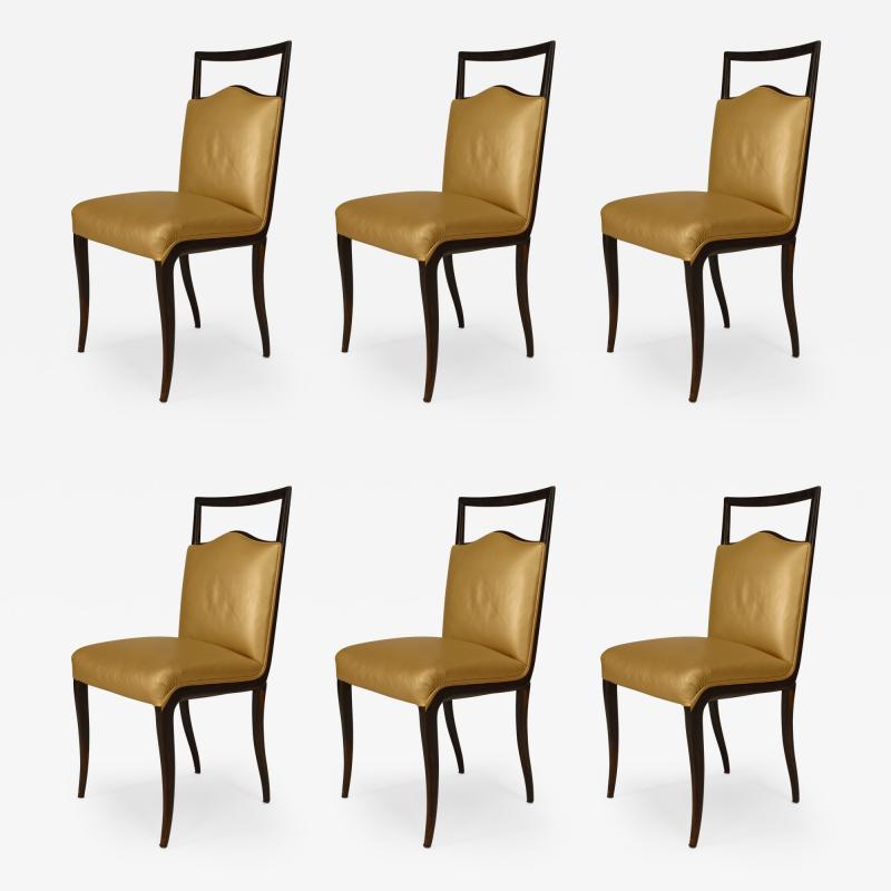 Vittorio Dassi Set of 6 Italian 1950s Walnut Maple Side Chairs