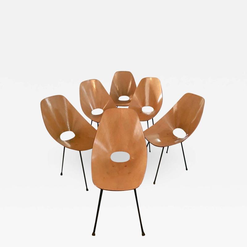 Vittorio Nobili Set of Six Medea Chairs by Vittorio Nobili