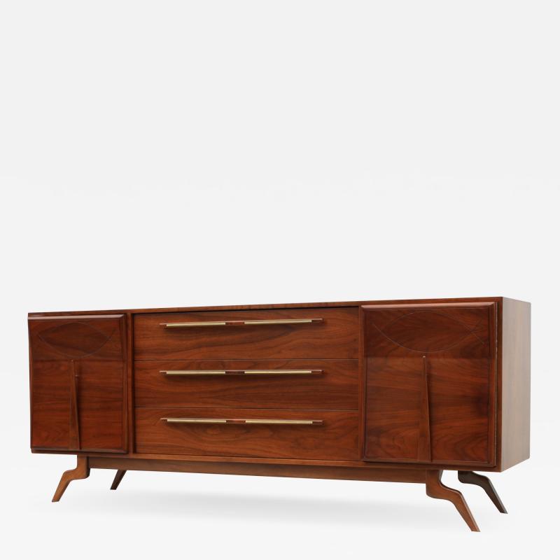 Vladimir Kagan 1960s Modernist Sculptural Walnut Dresser Credenza