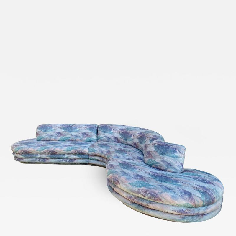 Vladimir Kagan Biomorphic Sectional Sofa in Wild 80 s Upholstery