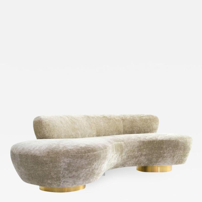Vladimir Kagan Curved Sofa on Brass Bases by Vladimir Kagan