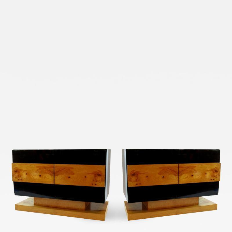 Vladimir Kagan Pair of American Modern Black Lacquer and Burled Wood Credenza Vladimir Kagan