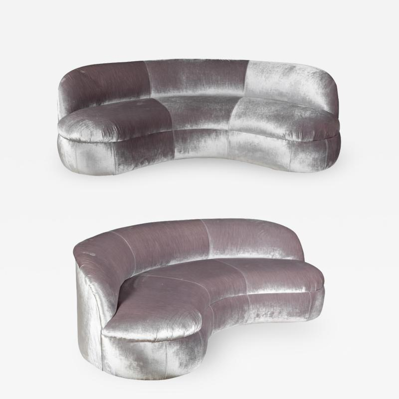 Vladimir Kagan Pair of Biomorphic Curved Velvet Sofas attr to Vladimir Kagan for Directional