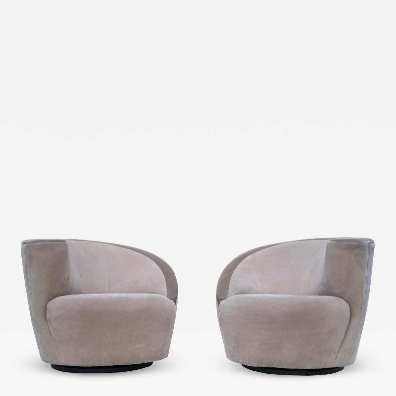 Vladimir Kagan Pair of Vladimir Kagan Corkscrew Lounge Swivel Chairs for Directional