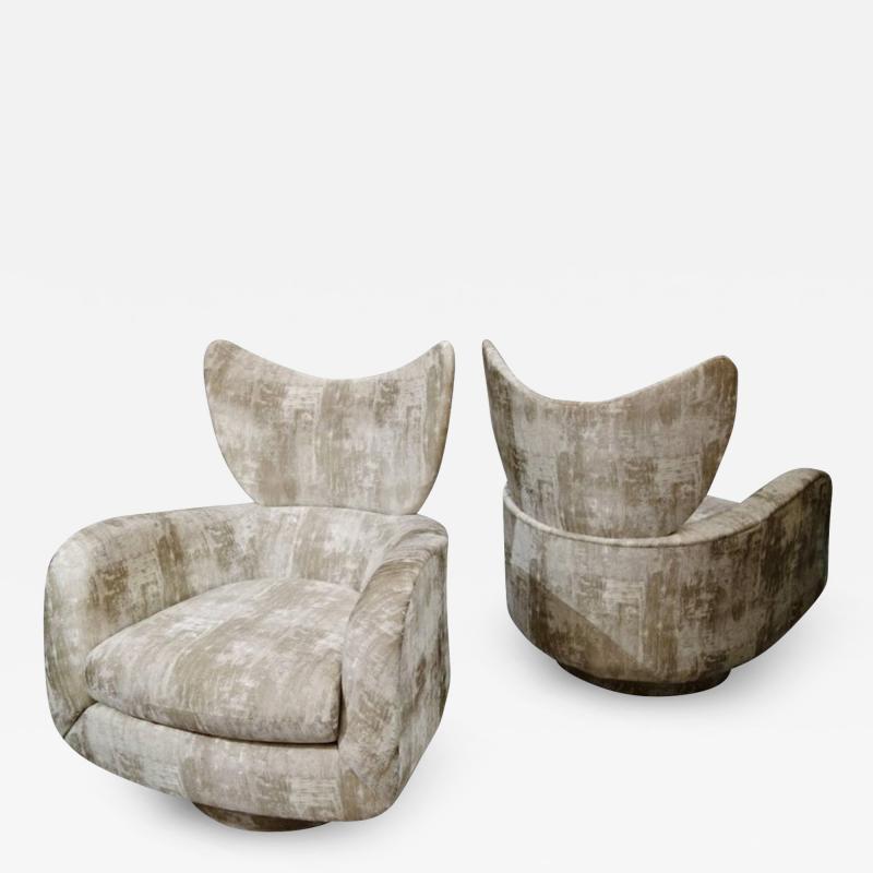 Vladimir Kagan Pair of Vladimir Kagan Large Swivel Greige Lounge Chairs for Directional