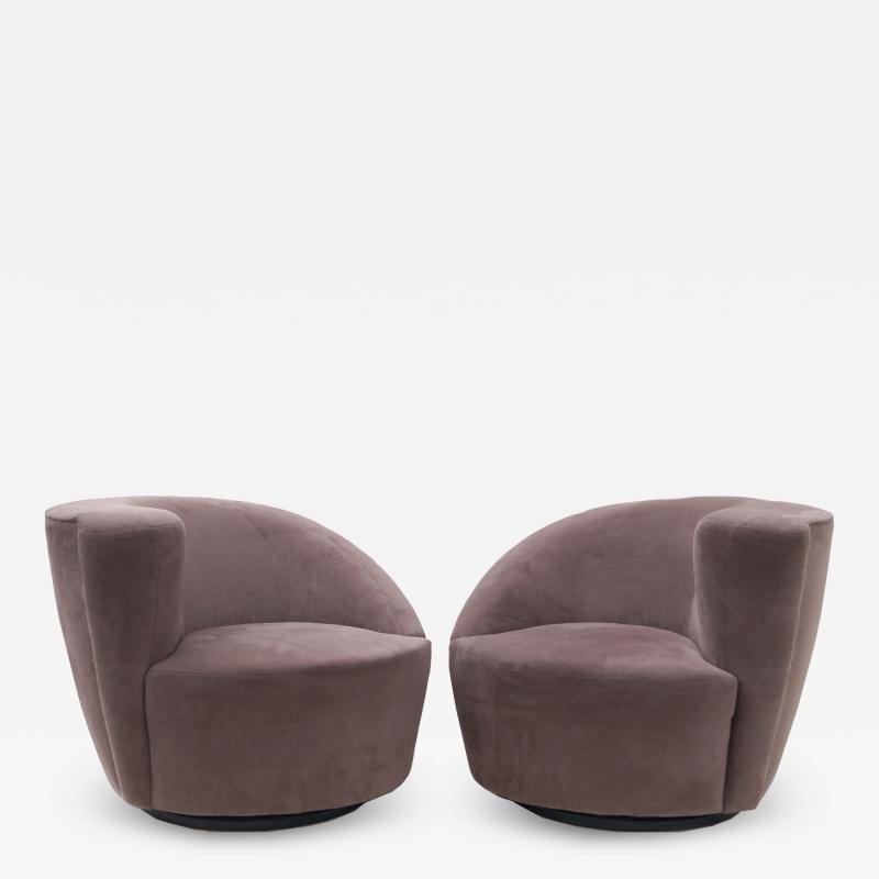 Vladimir Kagan Pair of Vladimir Kagan Nautilus Swivel Lounge Chairs for Directional