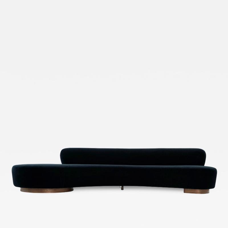 Vladimir Kagan Serpentine Sofa by Vladimir Kagan in Navy Blue Mohair