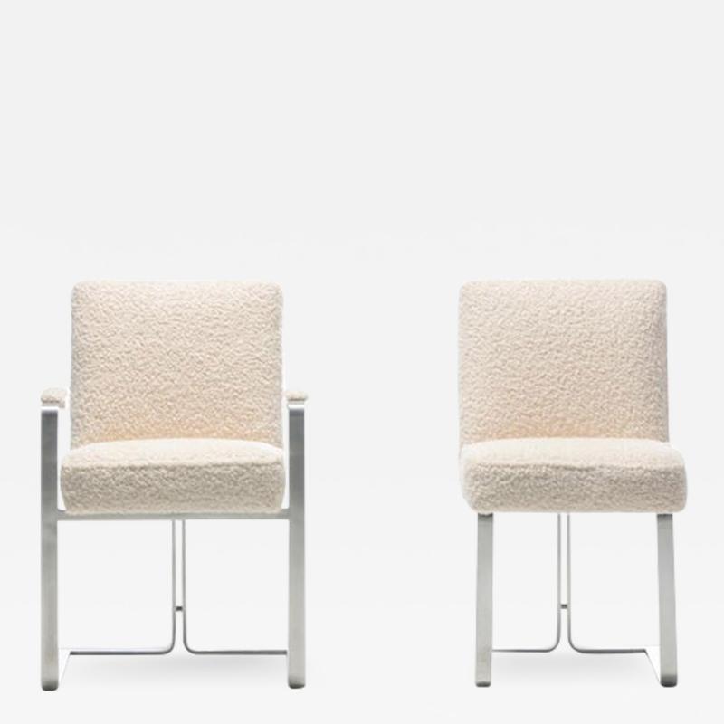 Vladimir Kagan Set of 12 Vladimir Kagan for Kagan Dreyfuss Steel Dining Chairs in Ivory Boucl