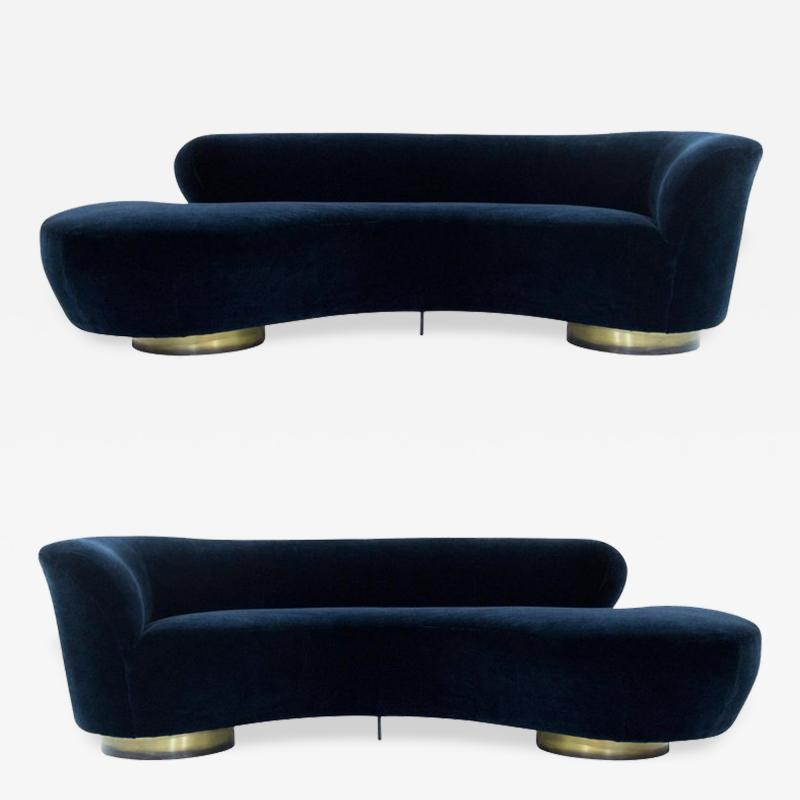 Vladimir Kagan Set of Opposing Serpentine Sofas in Deep Blue Mohair by Vladimir Kagan