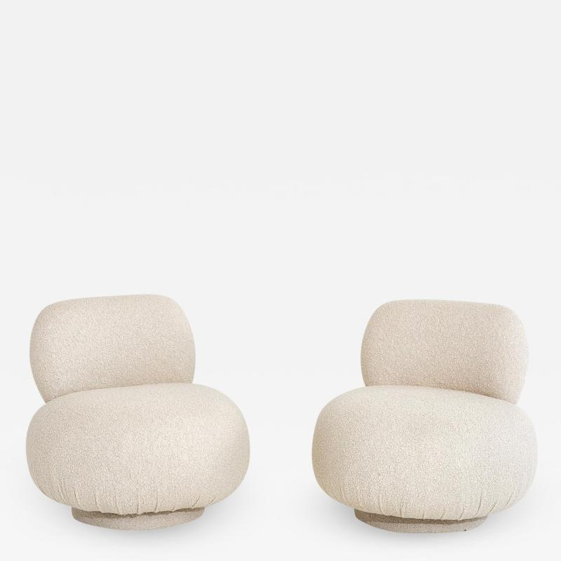 Vladimir Kagan Swivel Pouf Lounge Chairs 1970