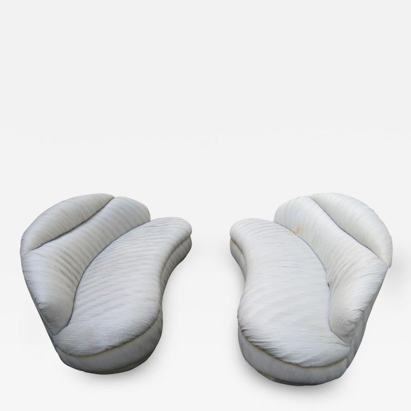 Vladimir Kagan Unusual Pair Vladimir Kagan Weiman Ruched Kidney Shaped Curved Sofa