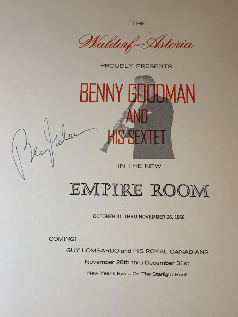 WALDORF ASTORIA MENU AUTOGRAPHED BY BENNY GOODMAN