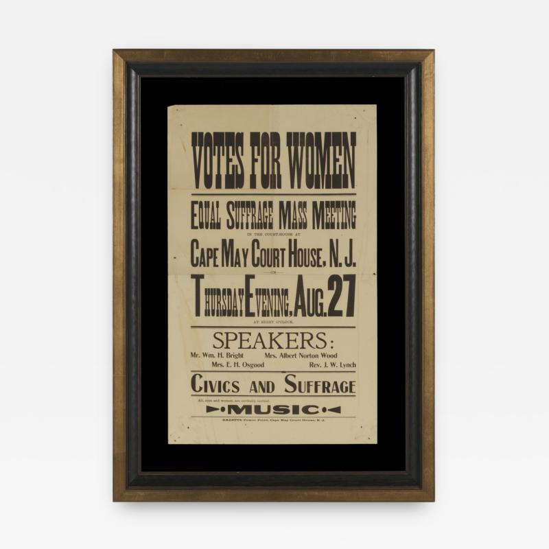 WOMENS SUFFRAGE BROADSIDE FROM A 1914 MASS MEETING