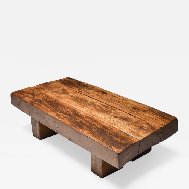 Wabi Sabi Rustic modern oak bench coffee table 1960s