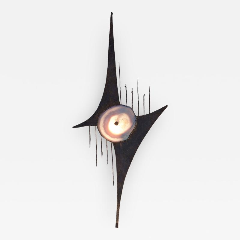 Wall Light In The Style Of Willy Daro Steel And Agate Belgium 1970s