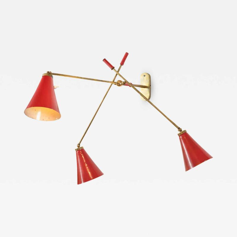 Wall Light with Three Articulating Red Cone Shaped Shades Italy 1950s