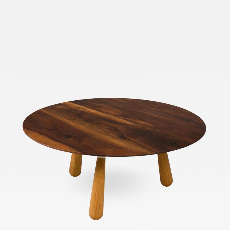 Walnut and Oak Round Coffee Table by Oluf Lund Denmark 2018