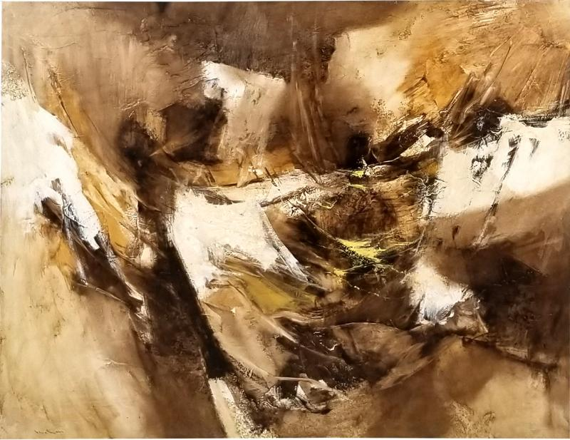Walter McCown 1960s Abstract Oil and Encaustic Painting on Board by TX Modernist Walter McCown