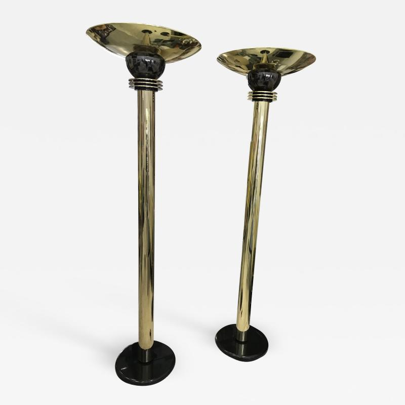 Walter Prosper Walter Prosper Torchieres Floor Lamps Signed and Dated a Pair