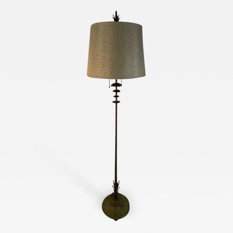Walter Von Nessen AMERICAN ART DECO MODERNIST FLOWER FORM BRONZE FLOOR LAMP