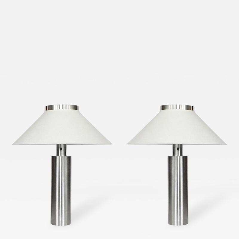 Walter Von Nessen Early Pair of Large Table Lamps by Walter von Nessen in Satin Nickel