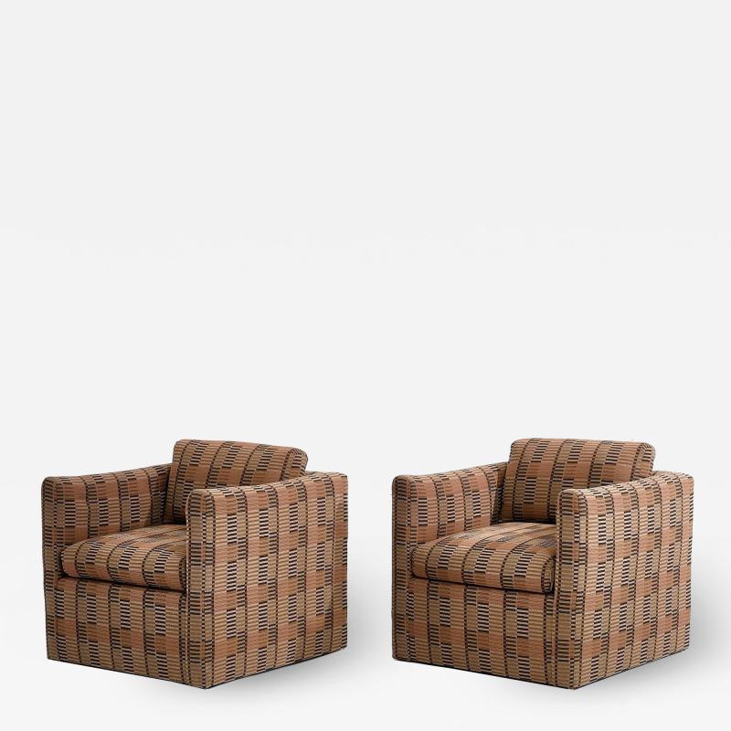 Ward Bennett Ward Bennett Lounge Chairs Bauhaus Fabric 1970