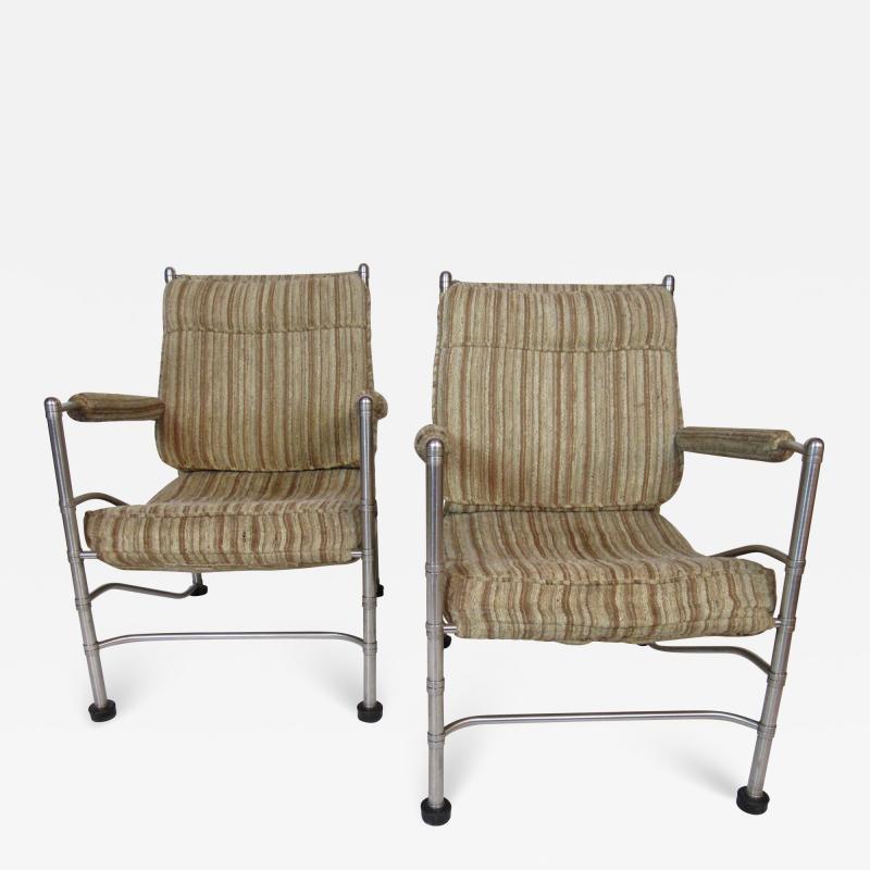 Warren McArthur Pair of Warren McArthur Stainless Steel Light Lounge Lounge Chair1934 35