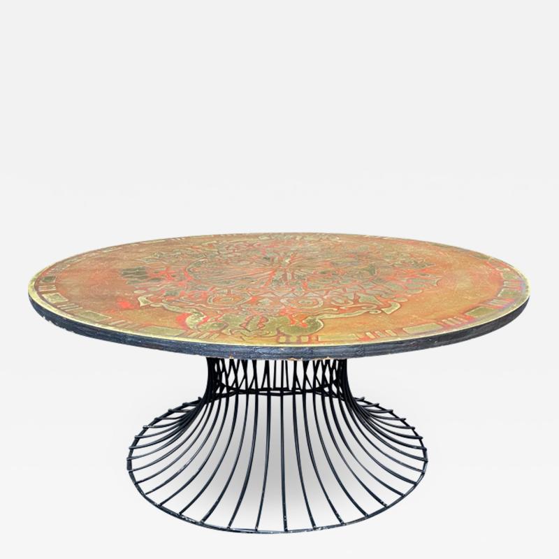Warren Platner SIGNED MID CENTURY DECORATED METAL TOP WARREN PLATNER STYLE COFFEE TABLE