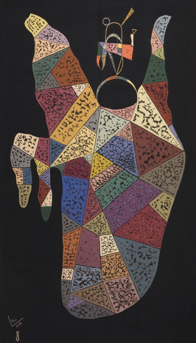 Wassily Kandinsky Unique modern tapestry designed by Wassily Kandinsky Sur Fond Noir