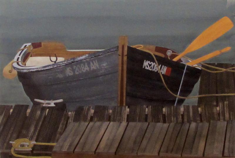 Watercolor on Paper Rendezvous Bodega Bay California by Michael Dunlavey