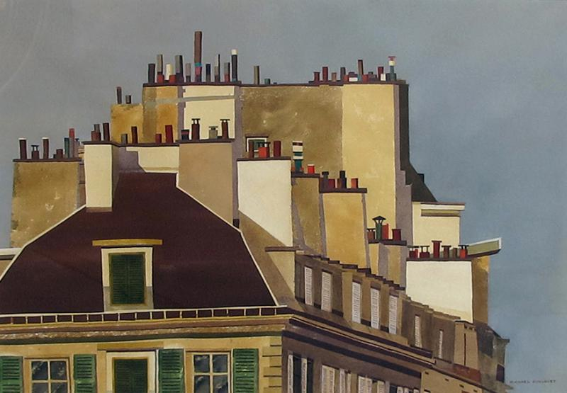 Watercolor on Paper Rooftops of Paris by Michael Dunlavey