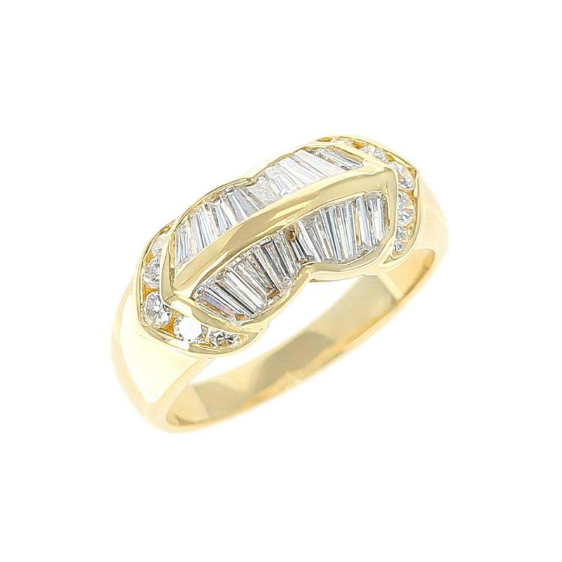 Wavy Two Row Diamond Baguette Ring with Round Diamonds 18 Karat Yellow Gold