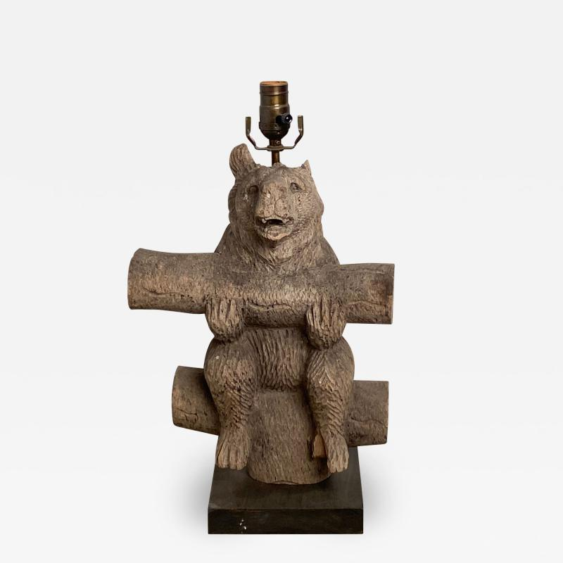 Weathered Black Forest Carved Wooden Bear Lamp Swiss Circa 1920