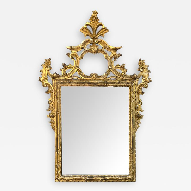 Well carved English George II Style Giltwood Mirror with Dramatic Crest