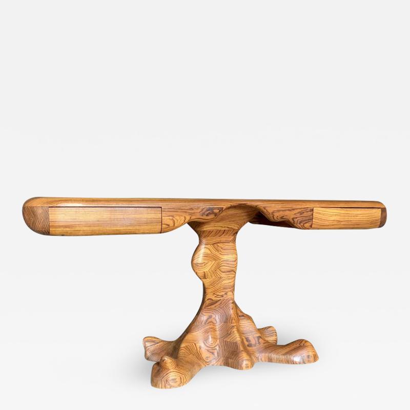 Wendell Castle American Studio style Zebra Wood Two Drawer Console Desk