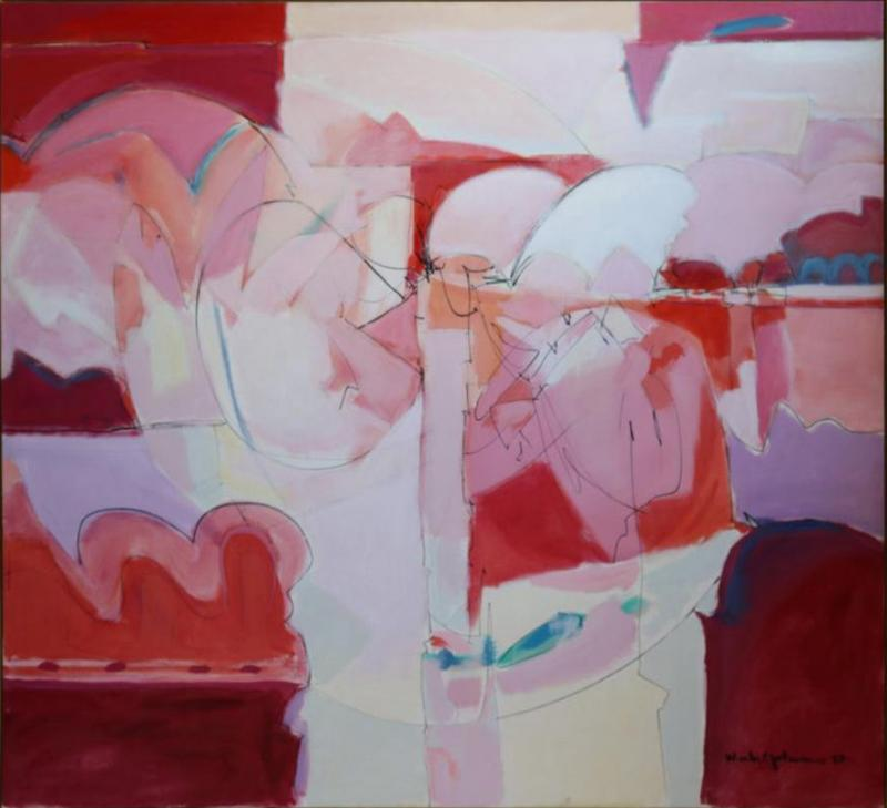 Wesley E Johnson Huge Wesley Johnson Abstract Oil Painting in Variation of Pink