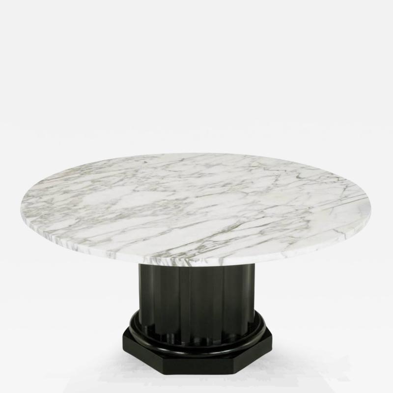White Carrara Marble Coffee Table With Ebonized Fluted