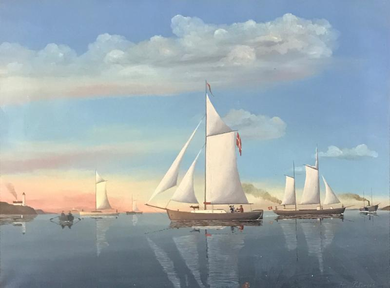 Wilhelm Erichsen Sailing Ships Lighthouse Danish Early 1900s