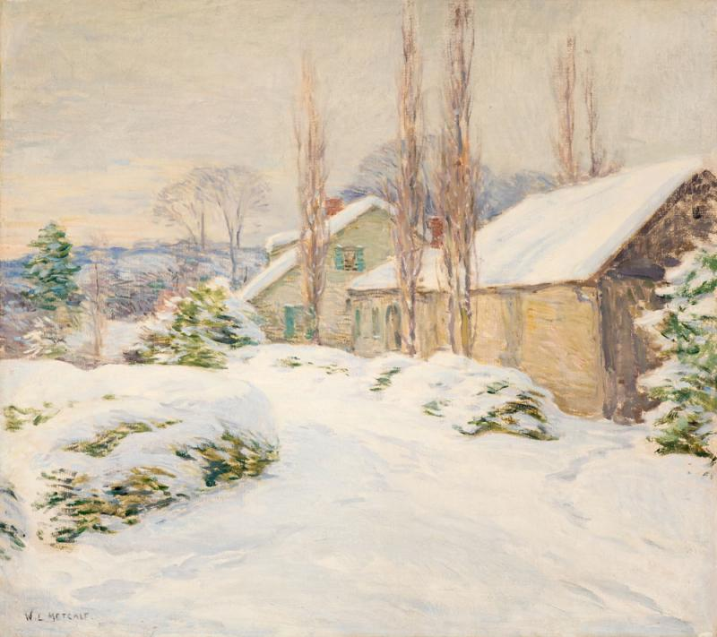 Willard Leroy Metcalf Winter Afternoon The Shipman House Cornish New Hampshire