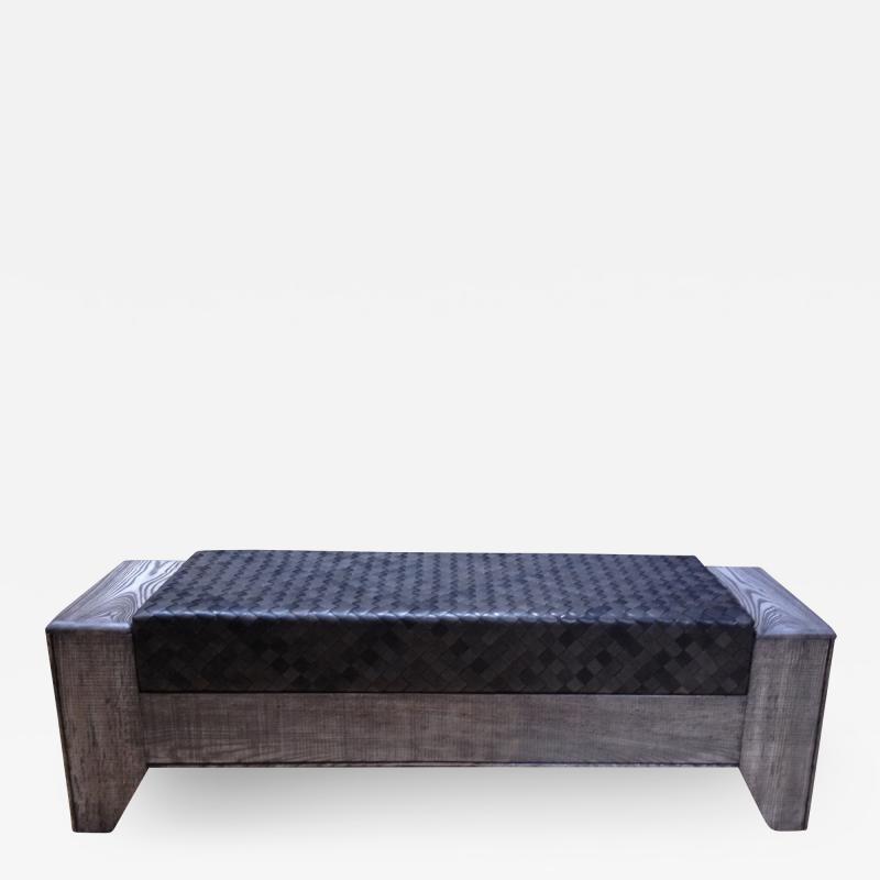 William Alburger Wood Leather Bench Table Alburger Design Wood Art Pong Gaddi Leather Work
