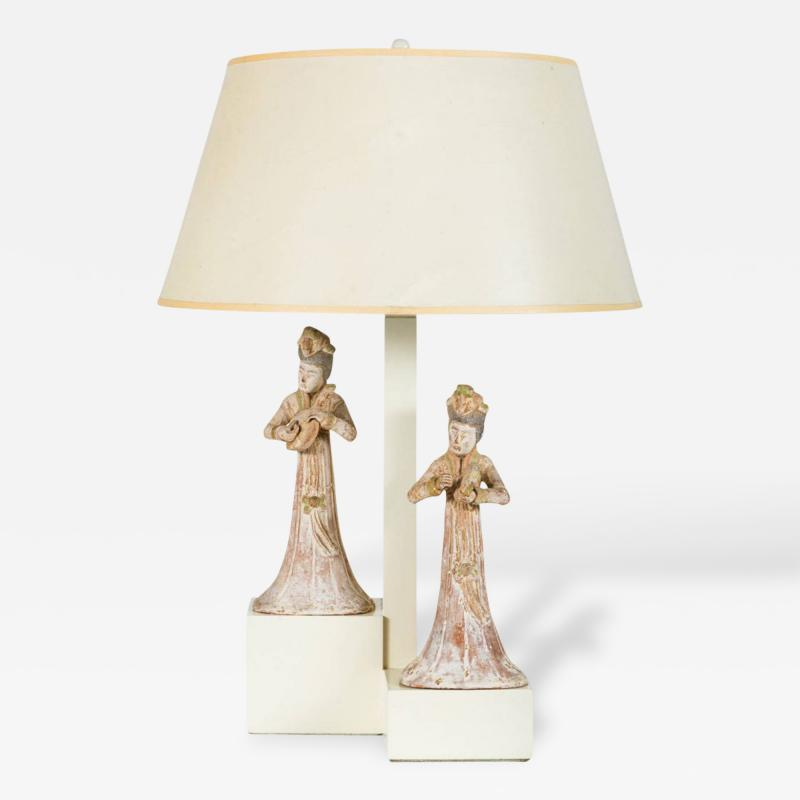 William Billy Haines Armature Lamp with Asian Figures Designed by William Haines