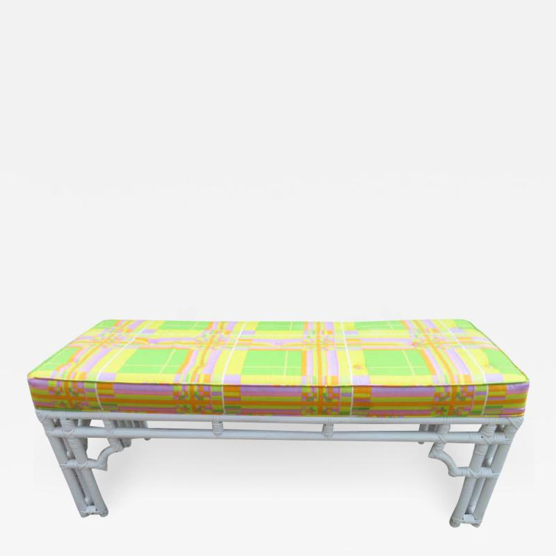 William Billy Haines Fabulous Mod White Faux Bamboo Wood Pucci Style Upholstered Bench Hollywood Glam