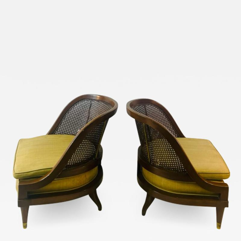 William Billy Haines MID CENTURY PAIR OF CANE WOOD AND BRASS CHAIRS IN THE MANNER OF BILLY HAINES