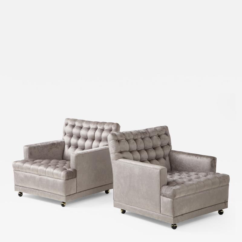 William Billy Haines Pair Of Biscuit Tufted Club Chairs Attributed to Billy Haines